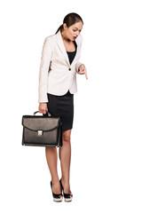 Business woman showing a copyspace