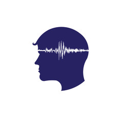 Concept of electroencephalogram head logo