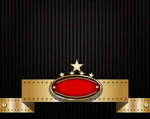 Classy background design with badge and ribbon