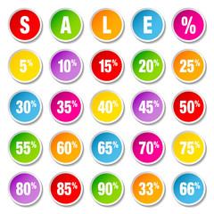"Price Tags Round Set ""Sale"" Color"