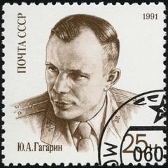 USSR - 1991: shows Yuri A. Gagarin (1934-1968), Pilot
