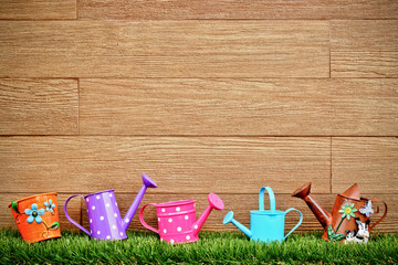 watering cans and pails on green grass with wood background