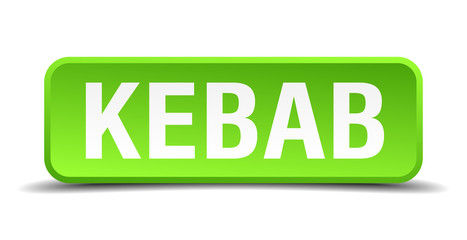 Kebab green 3d realistic square isolated button