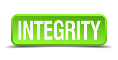 Integrity green 3d realistic square isolated button