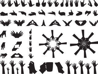 Different hand gestures illustrated on white
