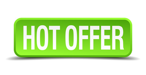 hot offer green 3d realistic square isolated button