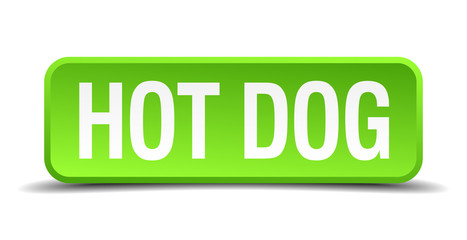 hot dog green 3d realistic square isolated button