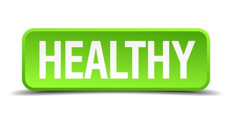 Healthy green 3d realistic square isolated button