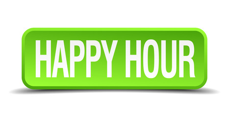 happy hour green 3d realistic square isolated button