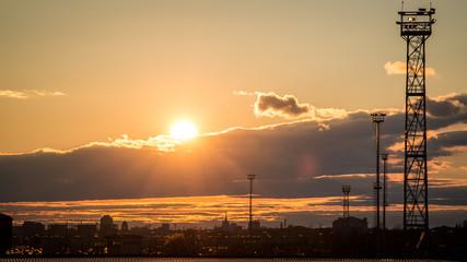 Milan city skyline at dusk