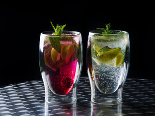 Mojito cocktails - original and strawberry