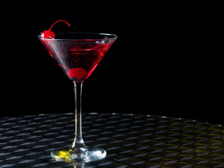 Glass with a red cocktail