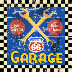 Vintage route 66 garage workshop sign, vector