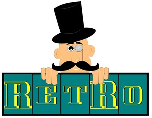 retro background with man in top hat