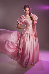 portrait of a beautiful girl in a pink dress, retro, history,