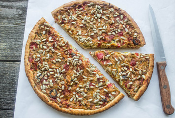 pie with vegetables and sunflower seeds