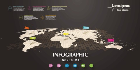 Infographic world map with flag-pointers and web icons