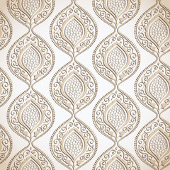 Beige luxury ornamental floral wallpaper