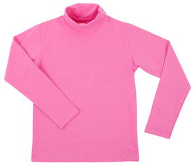 Pink child turtleneck. Isolated on a white