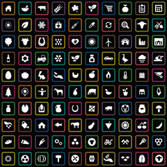 100 agriculture, farm icons set.