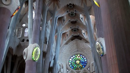 Types of Sagrada Familia church. The interiors. Barcelona