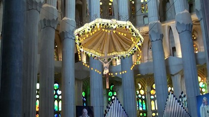 Types of Sagrada Familia church. The interiors. Barcelona,