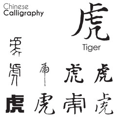 """Tiger"" character in different kind of Chinese Calligraphy"