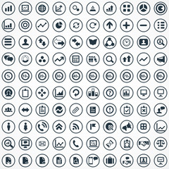100 analytics, research icons set.