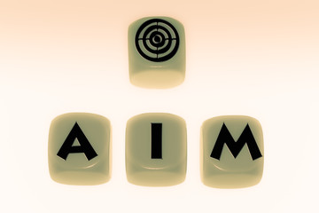 aim symbol with word AIM on cubes