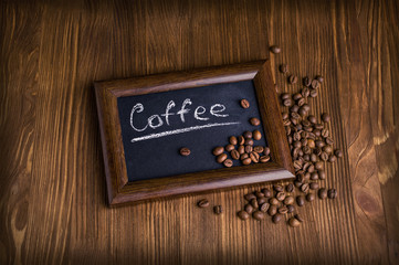 slate with coffee beans