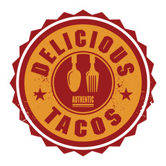 Abstract stamp or label with the text Delicious Tacos