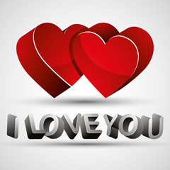 I love you phrase made with 3d letters and two red hearts