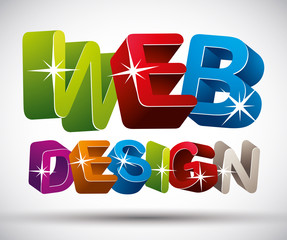 Web design lettering made with colorful 3d letters isolated