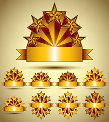 Five stars classic style blank golden banners set, vector