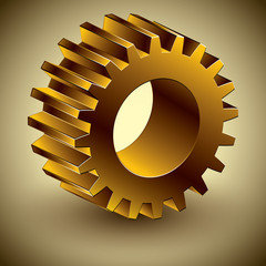 Golden gear 3d vector icon, eps 10.