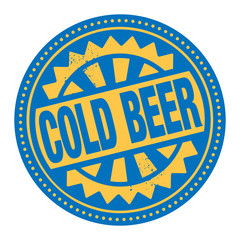 Abstract stamp or label with the text Cold Beer written inside