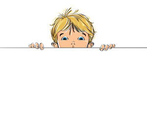 Background with a kid watching over copy space, vector