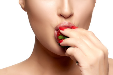 Sweet Bite. Healthy Mouth Biting Strawberry