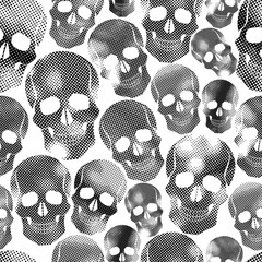Skulls with halftone print texture seamless background, black