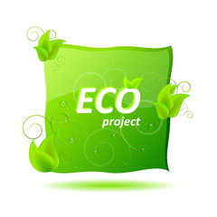 Ecological project concept with green leaves and shadow