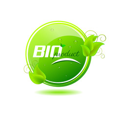 Bio product button with green leaves and water drops