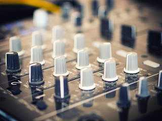 Closeup of dj controller - selective focus