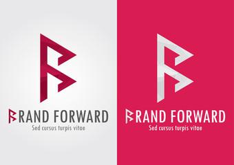 Brand Forward. B letter with a forward symbol.