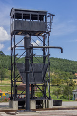Vintage water crane station for steam locomotives