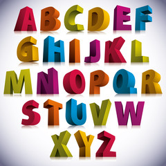 3D font, big colorful letters standing.