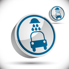 Car wash vector 3d icon.