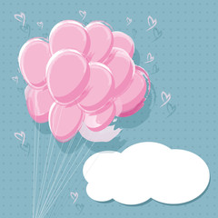 Vector pink balloon design