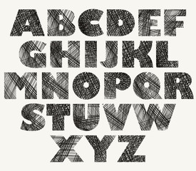 Hand drawn and sketched bold font.