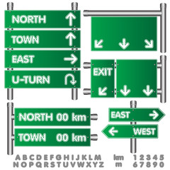 Vector illustration of Road sign. Empty Green Sign on High Way