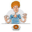 Teen boy with donut, vector illustration.